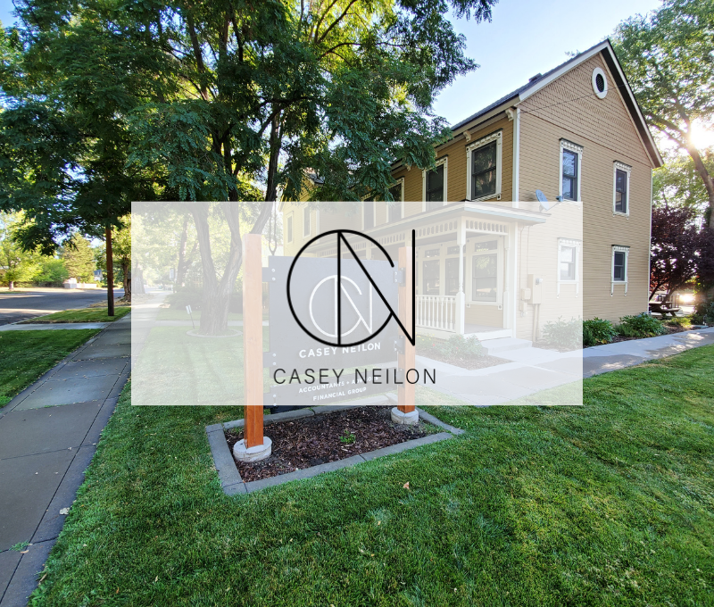 Photo of Casey Neilon exterior and logo