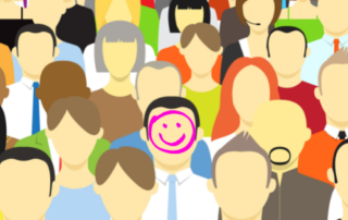 Ideal client profile happy face drawn on faceless avatars
